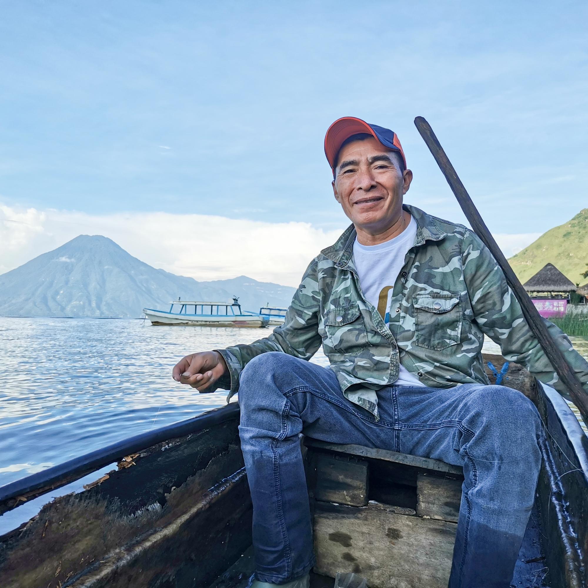 Fisherman Atitlan Lake Guatemala